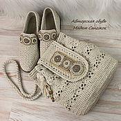 Сумки и аксессуары handmade. Livemaster - original item Bag and Shoes linen with embroidery women (set). Handmade.