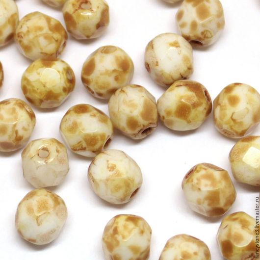 Для украшений ручной работы. Ярмарка Мастеров - ручная работа. Купить 30шт 6мм Чешские граненые бусины Белый мрамор Fire polished beads. Handmade.