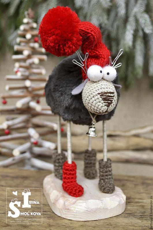 Новый год 2017 ручной работы. Ярмарка Мастеров - ручная работа. Купить ОЛЕНЬ новогодний. Handmade. Ярко-красный, новый год подарок