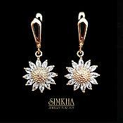 Украшения handmade. Livemaster - original item Round earrings covered with gold with zircons.. Handmade.