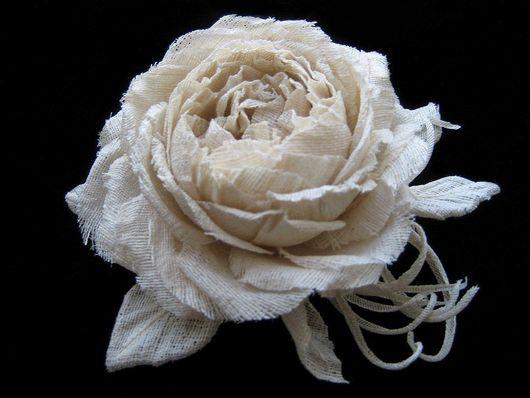 Brooches handmade. Livemaster - handmade. Buy Silk flowers.Brooch hairpin ROSA OLD ENGLISH Indian silk Dupion..