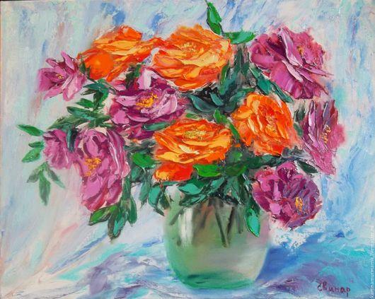 """Картины цветов ручной работы. Ярмарка Мастеров - ручная работа. Купить Картина маслом цветы 40/50 """"Спонтанный натюрморт-2"""". Handmade."""