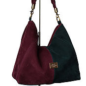 Сумки и аксессуары handmade. Livemaster - original item Suede bag, plum and emerald. Handmade.