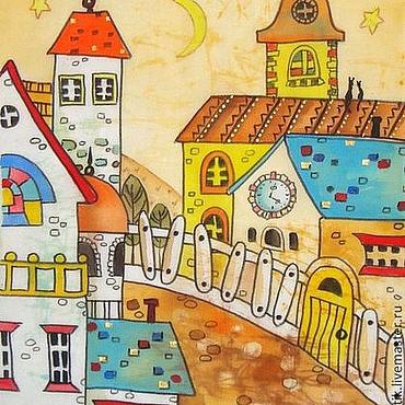 Картины и панно ручной работы. Ярмарка Мастеров - ручная работа Городок из сказки (батик панно). Handmade.
