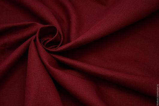Шитье ручной работы. Ярмарка Мастеров - ручная работа. Купить Ткань льняная тёмно-красная арт.00457. Handmade.