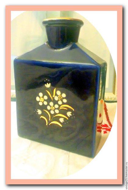 Винтажные предметы интерьера. Ярмарка Мастеров - ручная работа. Купить Кобальт, штоф, бутылка, клеймо. Handmade. Тёмно-синий