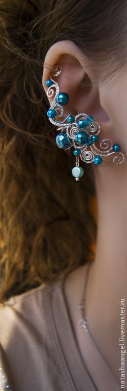 """Каффы ручной работы. Ярмарка Мастеров - ручная работа. Купить Кафф """"Лазурь"""" (украшения голубые серьги, голубой и бирюзовый цвет). Handmade."""