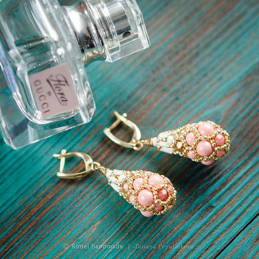 Серьги ручной работы. Ярмарка Мастеров - ручная работа. Купить «Pink Coral Faberge» серьги из жемчуга Swarovski. Handmade.