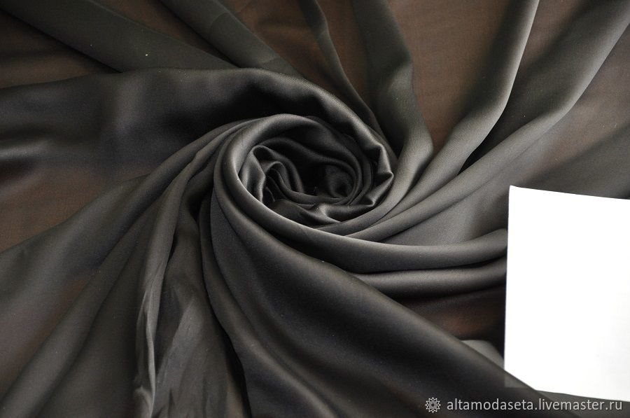 Муслин шелк черного цвета, Ткани, Москва,  Фото №1