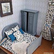 Куклы и игрушки handmade. Livemaster - original item Dollhouse furniture Blue bedroom for Dollhouse. Handmade.