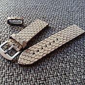 Аксессуары handmade. Livemaster - original item Snake leather strap beige 22mm i20mm. Handmade.