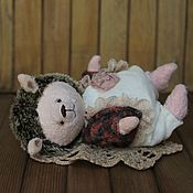 Куклы и игрушки ручной работы. Ярмарка Мастеров - ручная работа Ежик тедди Аксинья в стиле ретро. Handmade.