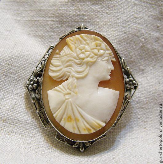 Винтажные украшения. Ярмарка Мастеров - ручная работа. Купить Старинная камея на раковине в серебре, брошь. Handmade. Бежевый, камея