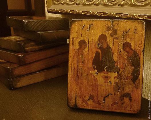 Иконы ручной работы. Ярмарка Мастеров - ручная работа. Купить Икона на дереве Святая троица Православные иконы. Handmade. Икона