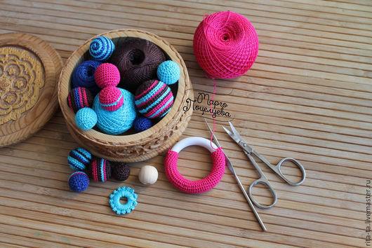 Для украшений ручной работы. Ярмарка Мастеров - ручная работа. Купить Вязаные кольца и бусины. Handmade. Вязаные бусины
