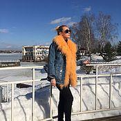 """Одежда ручной работы. Ярмарка Мастеров - ручная работа Куртка-джинсовка """" Апельсин """". Handmade."""