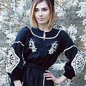 Одежда handmade. Livemaster - original item Exclusive black dress with embroidery