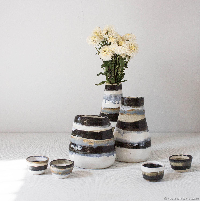 Вазы ручной работы. Ярмарка Мастеров - ручная работа. Купить Набор керамических ваз из серии Blach and White. Handmade.