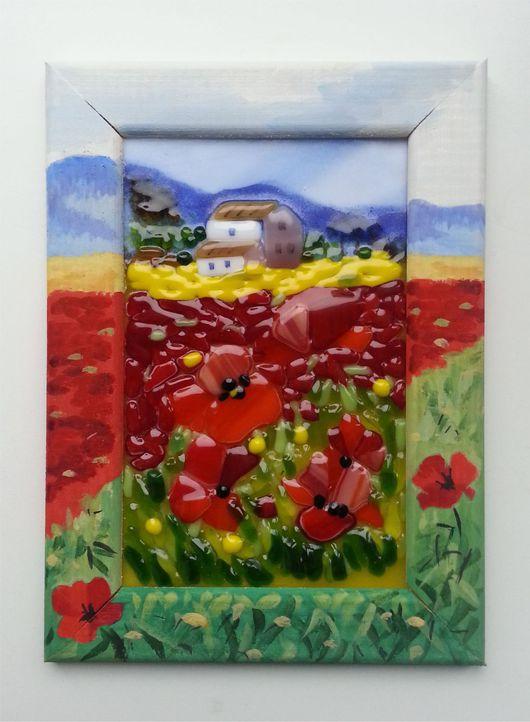 """Пейзаж ручной работы. Ярмарка Мастеров - ручная работа. Купить Панно """" Маковое поле"""". Handmade. Комбинированный, картина в подарок"""