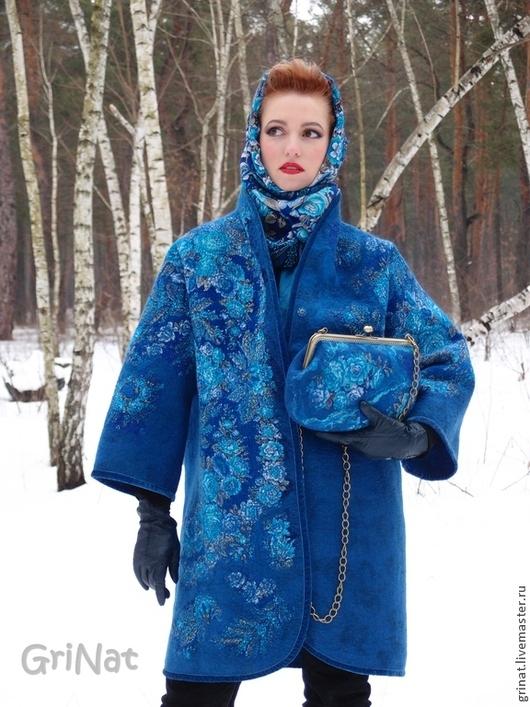 """Верхняя одежда ручной работы. Ярмарка Мастеров - ручная работа. Купить Валяное пальто """"Признание синего"""". Handmade. Синий"""