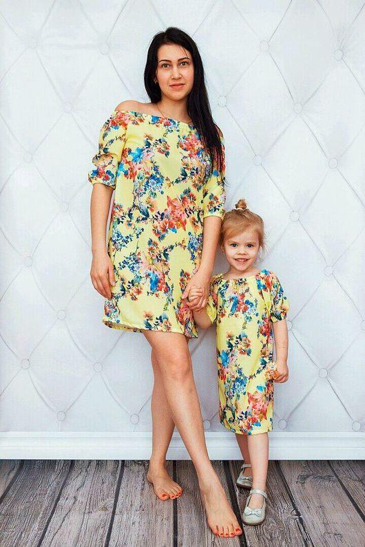 Платья ручной работы. Ярмарка Мастеров - ручная работа. Купить Комплект платьев family look. Handmade. Family look, платье