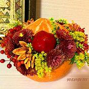 Букеты ручной работы. Ярмарка Мастеров - ручная работа Тыква с цветами. Handmade.