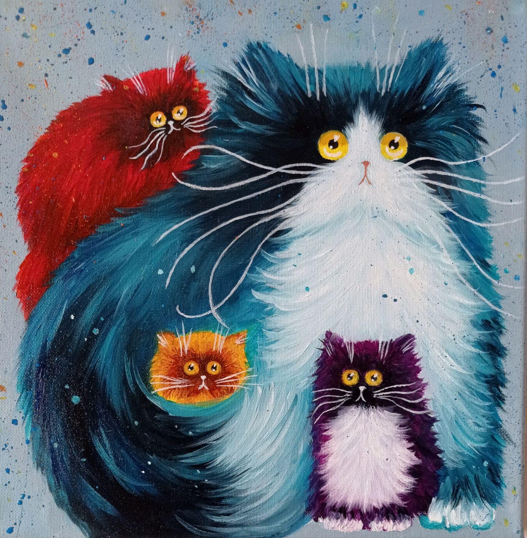 Кошачье семейство. Картина маслом. Юмор, Картины, Батайск,  Фото №1