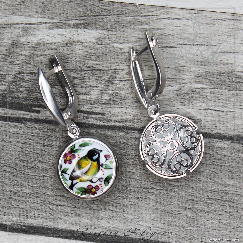 Earrings 'Titmouse' enamel, silver 999, Earrings, Kostroma,  Фото №1