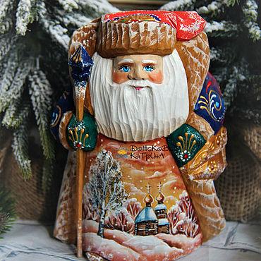 Сувениры и подарки ручной работы. Ярмарка Мастеров - ручная работа Дед мороз  №79 (деревянный резной расписной). Handmade.