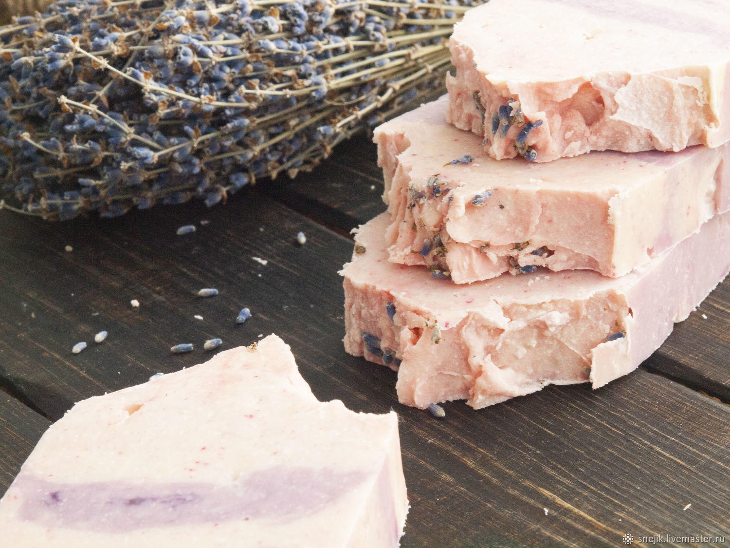'Pink lavender ' natural soap, Soap, Moscow,  Фото №1