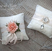 Свадебный салон handmade. Livemaster - original item cushion for rings with delicate flower and brooch. Handmade.