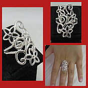 Украшения handmade. Livemaster - original item Floral Ring. Openwork silver ring.. Handmade.