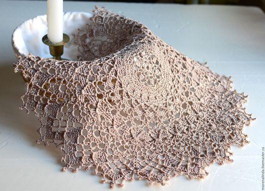 Текстиль, ковры ручной работы. Ярмарка Мастеров - ручная работа. Купить Салфетка крючком Плетение. Handmade. Бежевый, плотная, для интерьера