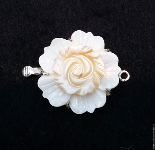 """Для украшений ручной работы. Ярмарка Мастеров - ручная работа. Купить Замок - """"роза"""" перламутр. Handmade. Белый, замок"""