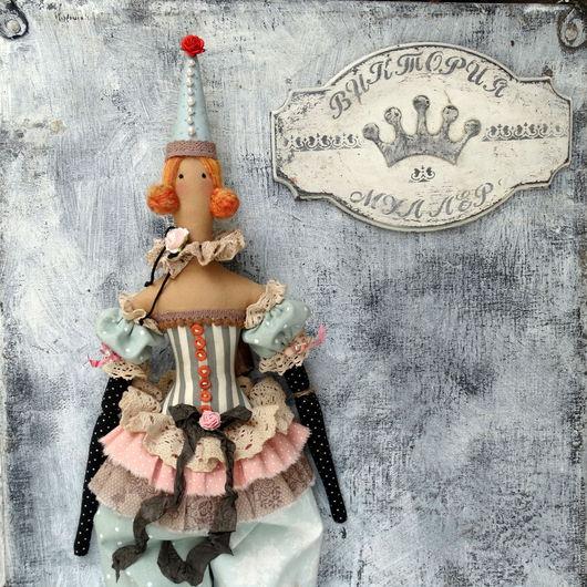 кукла тильда ручной работы интерьерная кукла кукла в подарок шебби шик клоун рыжий клоунесса цирк серый мятный розовый