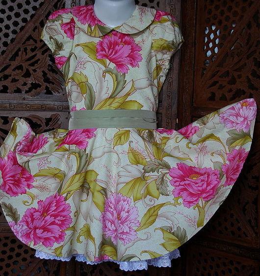 Одежда для девочек, ручной работы. Ярмарка Мастеров - ручная работа. Купить Платье ЦВЕТЫ. Работы для детей. Хлопок. Handmade.
