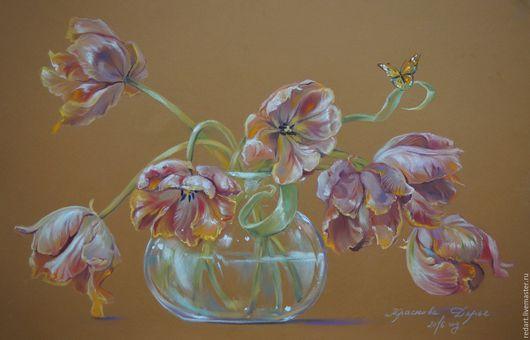 Картины цветов ручной работы. Ярмарка Мастеров - ручная работа. Купить Есть только миг... Handmade. Коралловый, цветы, букет цветов