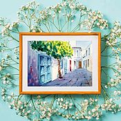 Pictures handmade. Livemaster - original item The picture Greece street watercolor landscape courtyards of the city for cafes. Handmade.