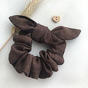 Украшения handmade. Livemaster - original item Fabric volume elastic band for hair, chocolate color. Handmade.