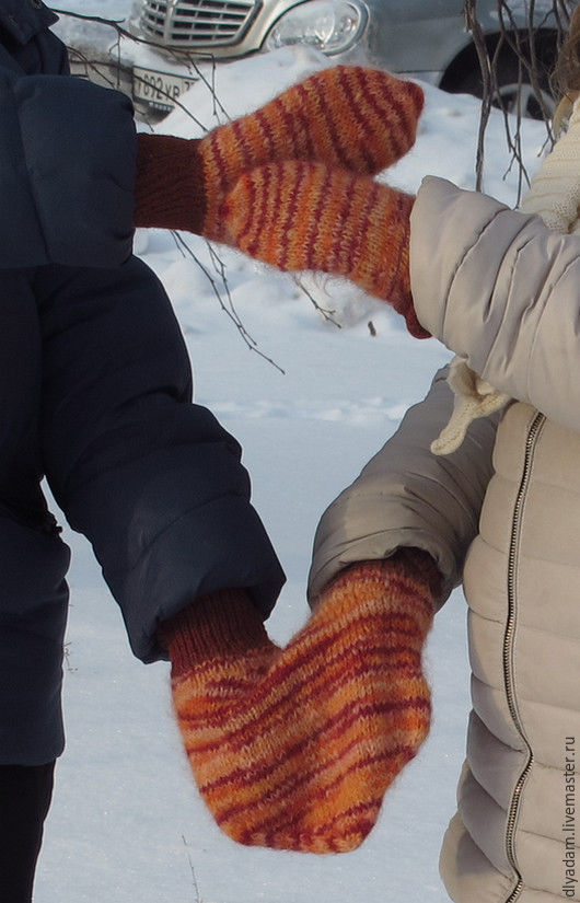 """Варежки, митенки, перчатки ручной работы. Ярмарка Мастеров - ручная работа. Купить """"Разноцветные мармеладки"""". Handmade. Комбинированный, варежки для влюбленных"""