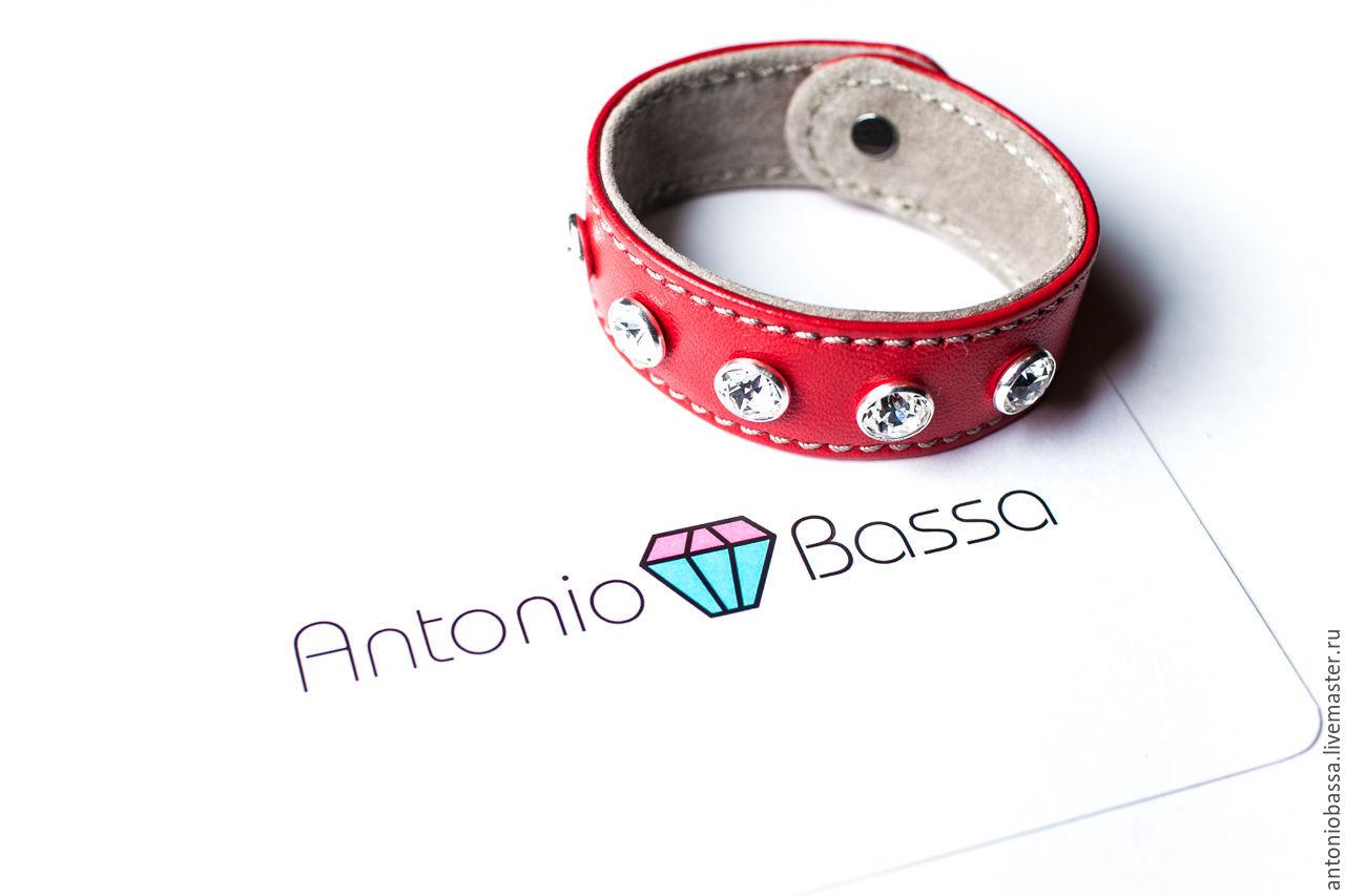 Кожаный браслет Antonio Bassa - красный, , Москва, Фото №1