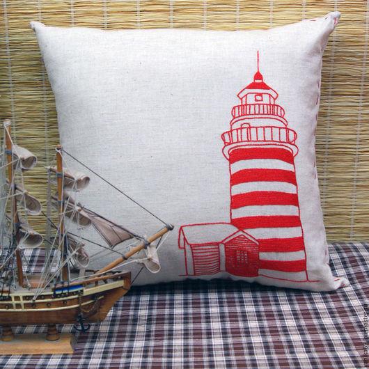 Текстиль, ковры ручной работы. Ярмарка Мастеров - ручная работа. Купить Интерьерная подушка с вышивкой Маяк. Handmade. Подушка, красный