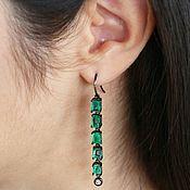 Украшения handmade. Livemaster - original item 6.50tcw Emerald Black Rhodium Earrings, Emerald Diamond Black Rhodium,. Handmade.