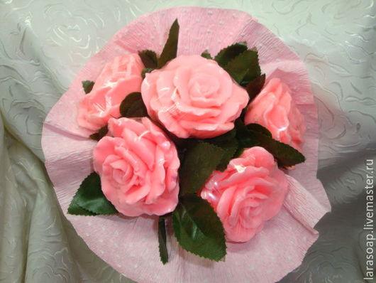 Мыло ручной работы. Ярмарка Мастеров - ручная работа. Купить Розы розовые (большие). Нежность.. Handmade. Цветы, мыльный букет