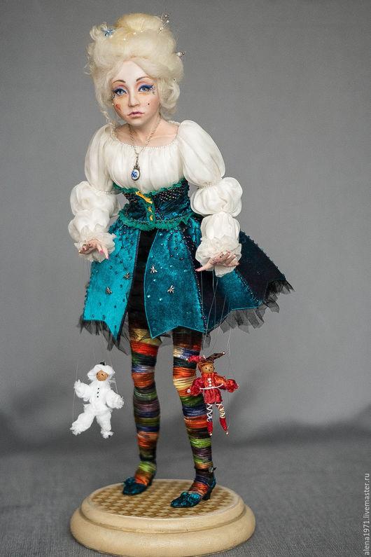 Коллекционные куклы ручной работы. Ярмарка Мастеров - ручная работа. Купить Коломбина. Handmade. Голубой, авторская ручная работа, театр