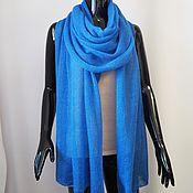 Аксессуары handmade. Livemaster - original item Wraps: Kid mohair stole bright blue scarf knitted stole. Handmade.