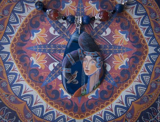 """Кулоны, подвески ручной работы. Ярмарка Мастеров - ручная работа. Купить Кулон """" Девушка с птицей"""". Handmade. Тёмно-синий"""