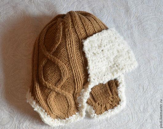 Шапки и шарфы ручной работы. Ярмарка Мастеров - ручная работа. Купить Детская шапочка с ушками, бежевая. Handmade. Бежевый