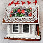 Новогодний пряничный домик со снегирями большой
