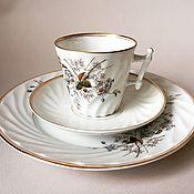 Винтаж handmade. Livemaster - original item Antique Coffee Cup saucer plate violet embossed porcelain. Handmade.